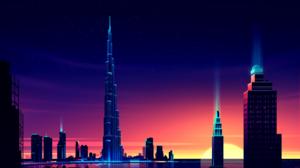 Skyscraper Cityscape Artistic Dubai 2880x1800 Wallpaper