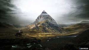 Knight Landscape Pyramid 2560x1440 Wallpaper