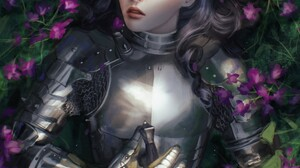 Paulina Bochniak Knight Flowers Sword Open Mouth Closed Eyes Blonde Women Portrait Display Armored D 1491x2048 Wallpaper