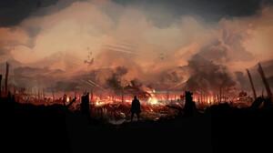 Luke Viljoen Soldier Smoke Fire Planes Digital Art Artwork War Alone Airplane ArtStation 3840x2160 Wallpaper