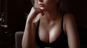 Ivan Proskurin Women Looking Away Dress Black Clothing Table Cup Coffee Makeup Ombre Hair Oktyabrina 1366x2048 Wallpaper