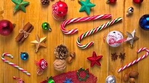 Bauble Christmas Ornaments Cinnamon Lollipop Nut Star 5837x3728 Wallpaper