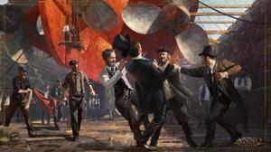 Anno 1800 1800s Digital Art Concept Art Top Hat Steam Ship Dockyard Workers Propeller Artwork Ubisof 3840x2160 Wallpaper