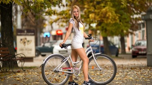 Model Women White Dress Standing Women Outdoors Red Lipstick Women With Bicycles 2048x1366 Wallpaper