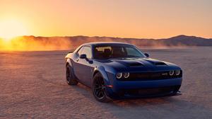 Dodge Luxury Car Desert Sunset Dodge Challenger Srt Hellcat Muscle Car Coupe Blue Car Car 3000x2000 wallpaper