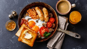 Still Life Coffee Cup Egg Sausage Juice Toast 1920x1290 Wallpaper