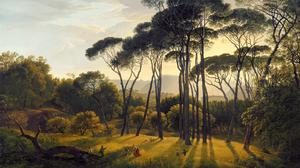 Artwork Plants Painting Trees Grass Vintage Sunlight Nature Forest Classic Art 2560x1440 Wallpaper