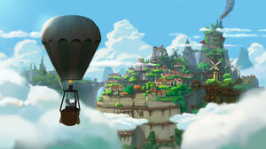 Ryo Yambe Rodent Trees Hot Air Balloons Clouds Windmill House Chimneys Mice Anthro 2500x1339 Wallpaper