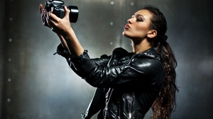 Brunette Camera Girl Leather Jacket Long Hair Model Mood Woman 5611x3734 wallpaper