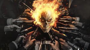 Flame Ghost Rider Gun Marvel Comics Skull 3840x2160 Wallpaper