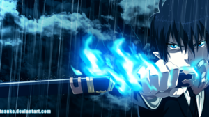 Ao No Exorcist Black Hair Blue Exorcist Blue Eyes Boy Pointed Ears Rain Rin Okumura 2500x1090 Wallpaper