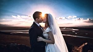 Arlamovsky Landscape Photoshop Retouching Wedding Dress Wedding Photo Couple Lovers Clear Sky Sunset 2000x1224 Wallpaper