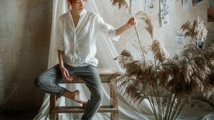Andrew Vasiliev Women Redhead Hairbun Shirt White Clothing Pants Barefoot Plants Curtains 2048x2048 Wallpaper