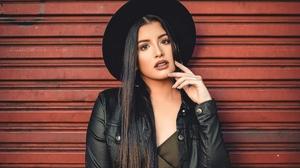 Black Hair Girl Hat Leather Jacket Long Hair Model Woman 2730x2108 wallpaper