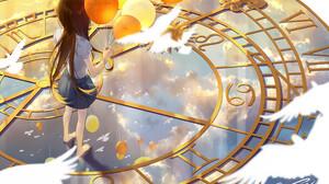 Balloon Bird Brown Hair Clock Long Hair 2515x1807 Wallpaper