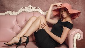 Women Model Black Dress Red Lipstick High Heels Studio 2880x1800 Wallpaper