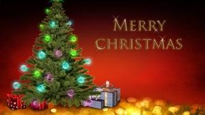 Merry Christmas Christmas Tree 2560x1706 wallpaper