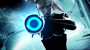 Woman Warrior Blonde Blue Eyes Weapon Samus Aran 1920x1080 Wallpaper