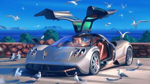 Marta Danecka Artwork Digital Painting Digital Art Drawing Birds Pagani Huayra ArtStation 1920x1473 Wallpaper