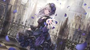 Anime Anime Girls Dress Silver Hair Purple Eyes Gothic Lolita Missile228 Artwork 1846x943 Wallpaper