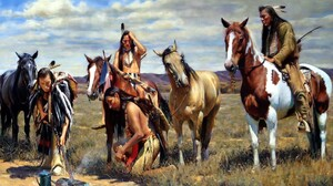 Feather Horse Lamp Native American Painting 2880x1800 Wallpaper