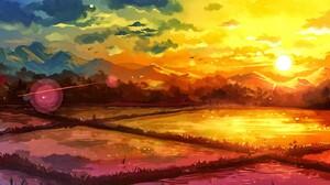Fantasy Art Drawing Rice Paddy Sunrise Nature Landscape 1600x1200 Wallpaper