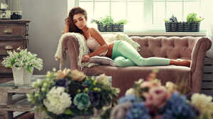 Women Depth Of Field Couch Long Hair Brunette Tanned Hips Flowers Eyeshadow Barefoot Anyuta Rai Whit 1900x1281 Wallpaper