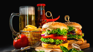 Beer Burger French Fries Still Life Tomato 6048x4500 Wallpaper