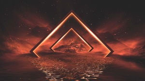 Abstract Concept Art Reflection Landscape Water Neon Lights Mountains Night Orange Mist 6400x3600 Wallpaper