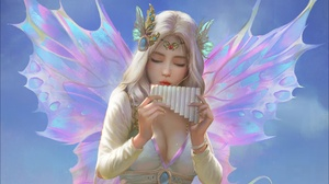 Fairy Flute Girl White Hair Wings Woman 1920x1364 Wallpaper