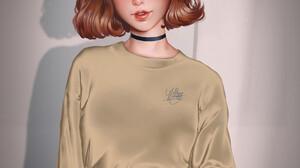 Lemon Cat Redhead Looking At The Side Choker Open Mouth Women Portrait Display Drawing Simple Backgr 1920x2134 Wallpaper
