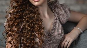 Vladimir Vasilev Women Brunette Long Hair Curly Hair Makeup Eyeshadow Dress Brown Clothing Couch Ind 1440x2160 Wallpaper