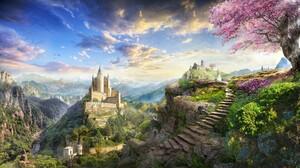 Artistic Castle Fantasy Flower Landscape Tree 1900x1069 Wallpaper