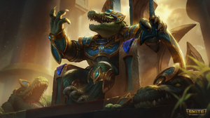 Sobek Smite Egyptian Mythology Throne Crocodile Weapon Claws Watermarked Armored Anthro 3840x2160 Wallpaper