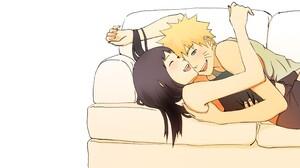 Uzumaki Naruto Hyuuga Hinata Anime Girls Anime Boys Couch Anime 2600x1200 Wallpaper