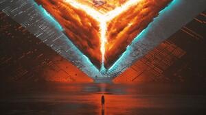 Stuart Lippincott Digital Art Pyramid Lights Abstract Dark Cinema4D 1920x1080 Wallpaper