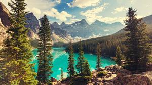 Banff National Park Canada Forest Lake Landscape Moraine Lake Mountain Nature Tree 4616x3016 Wallpaper