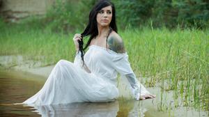 Women Model Brunette Dark Eyes Looking Away Wet Hair Bare Shoulders Tattoo White Dress Water Grass S 7000x4667 Wallpaper