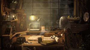 Dark Anime Girls Window Fruit Globes Speaker 1920x1080 Wallpaper