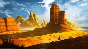 Michal Kva Digital Art Illustration Artwork ArtStation Fantasy Art Concept Art Desert Landscape Rock 1536x864 Wallpaper