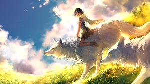 Girl Princess Mononoke Short Hair Wolf 2071x1080 Wallpaper