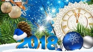 Blue Clock New Year New Year 2018 Santa Hat Silver Snow 1920x1080 Wallpaper
