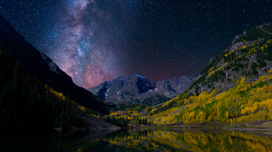 Earth Forest Landscape Milky Way Mountain Night Norway Reflection Sky Starry Sky Stars Valley 1920x1200 Wallpaper