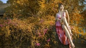 Asian Women Model Legs Plants Women Outdoors Outdoors Looking Away Flowers Red Lipstick Dress Red Dr 2048x1152 Wallpaper