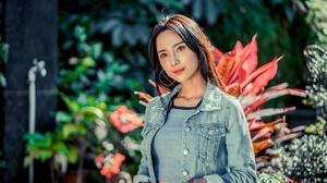 Asian Women Model Long Hair Brunette Depth Of Field Flowers Jeans Jacket Wristwatch Faucets 2048x1366 Wallpaper