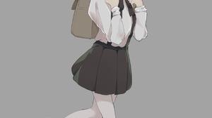 Hatoba Tsugu School Uniform Toast Brunette Brown Eyes Vertical Anime Girls 1280x1791 Wallpaper