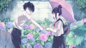 Anime Anime Boys Anime Girls Anime Couple Umbrella Rain Flowers Wall School Uniform 1920x1200 Wallpaper