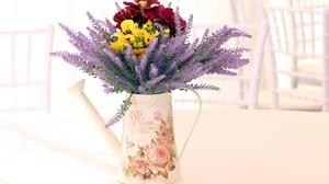 Colorful Flower Pitcher Purple Flower Still Life 5184x3456 Wallpaper
