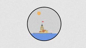 Minimalism Flatdesign Simple Simple Background Interfaces Sun Sea Illustration Digital Art Artwork I 8192x4320 Wallpaper