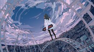Sky Painting Cloud City Clouds Sky City Cityscape Roller Coaster Rollercoasters Anime Girls Seraphit 1920x1080 Wallpaper